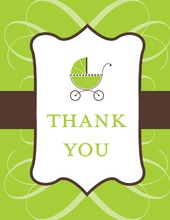 Classic Scroll Green Thank You Cards