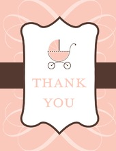 Classic Scroll Pink Thank You Cards