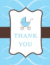 Classic Scroll Blue Thank You Cards