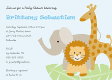 Three Animals Boy Baby Shower Invitations