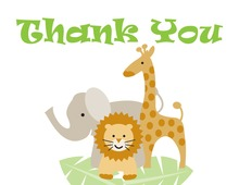 Three Animals Thank You Cards