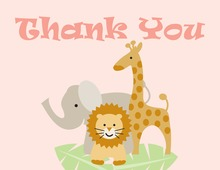 Three Animals Girl Thank You Cards