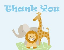 Three Animals Boy Thank You Cards