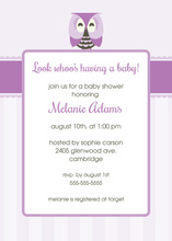 Adorable Owl Girl Baby Shower Invitations