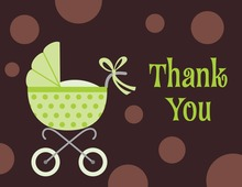 Polka Dots Stroller Thank You Cards