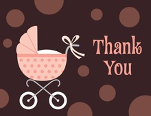 Polka Dots Stroller Girl Thank You Cards