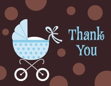 Polka Dots Stroller Boy Thank You Cards