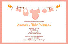 Clothes Pin Girl Baby Shower Invitations
