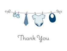 Baby Boy Clothes Line Thank You Cards
