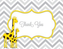 Yellow Giraffes Grey Chevron Thank You Cards