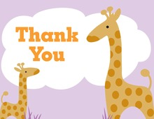 Mother Giraffe For Baby Girl Thank You Cards