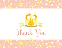 Cutie Owl Girl Thank You Cards
