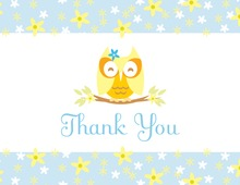 Cutie Owl Boy Thank You Cards