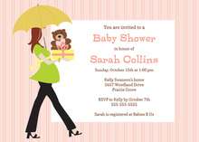 Walking Belly Mom For Baby Girl Invitations