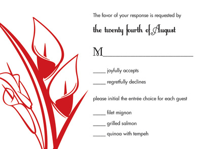 Lovely Lilies In Red Holiday Invitations