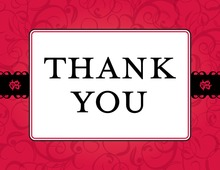 Red Flourish Thank You Cards