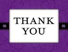Purple Flourish Thank You Cards
