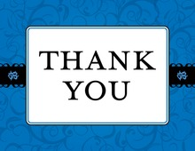 Blue Flourish Thank You Cards