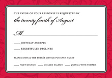 Modern Red Flourish RSVP Cards