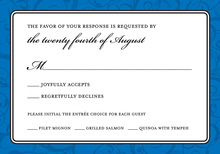 Modern Blue Flourish RSVP Cards