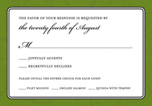 Modern Green Flourish RSVP Cards