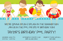 Poolside Kids Birthday Invitation