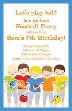 Football Boys Birthday Party Invitations