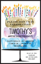 Watercolor Birthday Cake Flair Invitation
