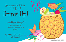 Cool Pineapple Drink Tropical Invitations