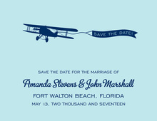 Old-Style Airplane Blue Save The Date Invitations