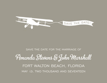 Old-Style Airplane Grey Save The Date Invitations