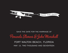 Bold Airplane Black Save The Date Invitations