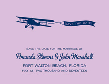 Engine Airplane Lavender Save The Date Invitations