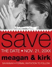 Modern Hearts Red Save The Date Photo Cards