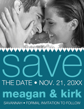 Soft Hearts Teal Save The Date Photo Cards