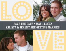 LOVE Yellow-Grey Save The Date Photo Cards