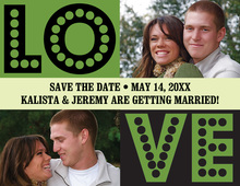 LOVE Green Save The Date Photo Cards