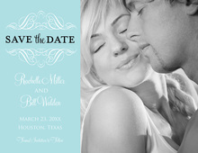 Stylish Victorian Blue Save The Date Photo Cards