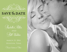 Stylish Victorian Green Save The Date Photo Cards