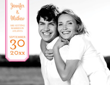 Simple Bookplate Pink Save The Date Photo Cards