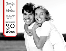Simple Bookplate Red Save The Date Photo Cards
