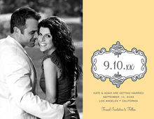 Yellow Swirl Bookplate Save The Date Photo Cards
