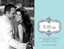 Blue Swirl Bookplate Save The Date Photo Cards