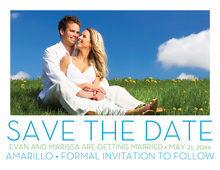 Simplified Blue Save The Date Photo Cards