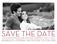 Simple Maroon Save The Date Photo Cards