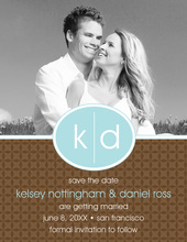 Oval Monogram Brown Save The Date Photo Cards
