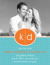 Oval Monogram Blue Save The Date Photo Cards