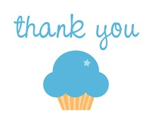 Blue Star Cupcake Thank You Cards