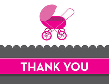 Modern Pink Buggy Thank You Cards