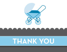 Modern Blue Buggy Thank You Cards